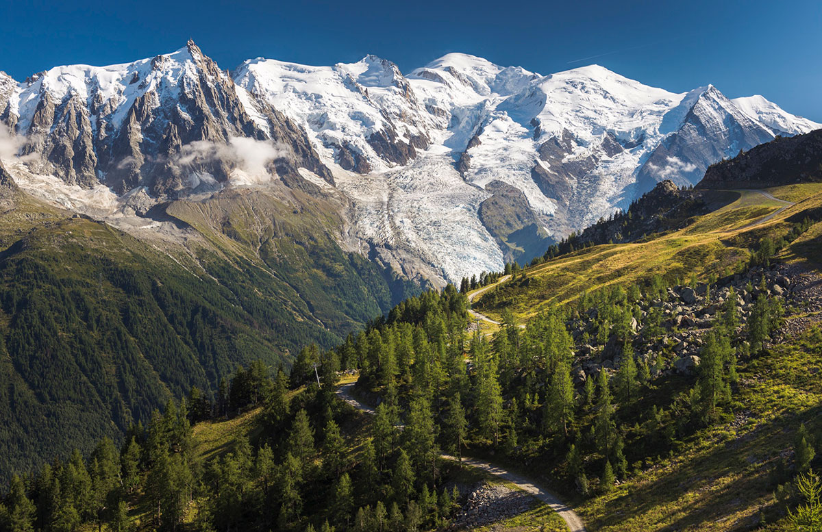 The Mont Blanc range in the Chamonix valley