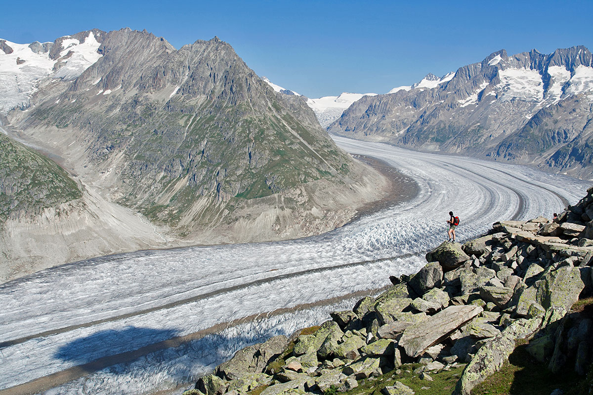 Hiking above the Aletsch Glacier, the largest glacier in the Alps.