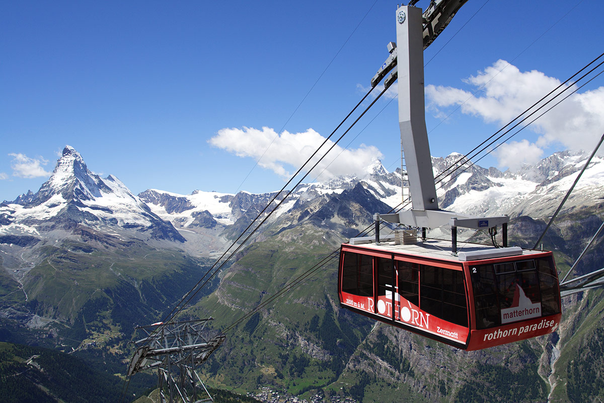 Cable cars in Zermatt take us high up the mountain to start our daily hikes