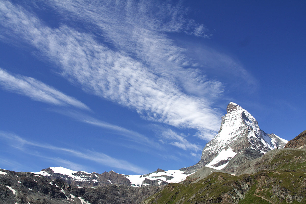The jagged Matterhorn is our daily companion
